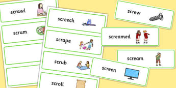 SCR Word Cards - speech sounds, phonology, articulation, speech therapy, cluster reduction, complex clusters, three element clusters