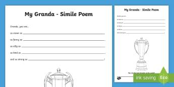 Granda Simile Poem Worksheet / Activity Sheet - granda, granda, poem, poetry, grandparents day, fathers day, writing,Irish, worksheet