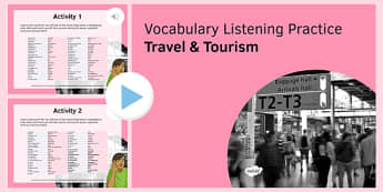 Travel & Tourism Vocabulary Listening Practice PowerPoint - French