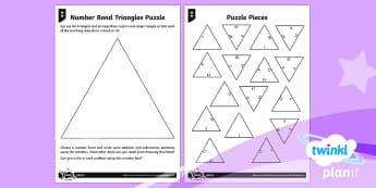 PlanIt Maths Y2 Addition and Subtraction Recall and Use Facts Home Learning Tasks - number triangles, number bonds, bonds to 10, bonds to 100, bonds to 20, puzzle, triominoes,bar model