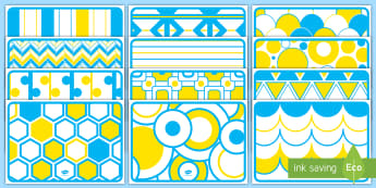 Blue, Yellow and White High Contrast Display Posters - EYFS Visual Stimulation for Babies, high contrast images for babies, newborn, infant, vision, eye de