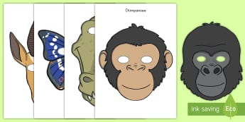 Jungle and Rainforest Role-Play Masks - masks, animals, jungle, rainforest, cut-outs, role-play