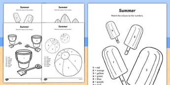 Summer Themed Colour by Number - seasons, counting aid, numbers