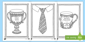 Father's Day Mindfulness Colouring Sheets English/Romanian - Mindfulness Colouring, father's day, family, dad, eal