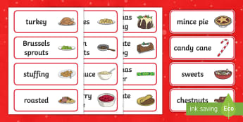 Christmas Dinner Word Cards - Christmas, xmas, word card, flashcards, cards, Santa, Father Christmas, tree, advent, nativity, santa, father christmas, Jesus, tree, stocking, present, activity, cracker, angel, snowman, advent , bauble