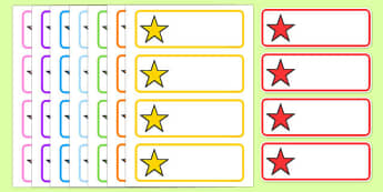 Editable Multicoloured Stars Drawer, Peg, Name Labels - Editable Label Templates, star, stars, Resource Labels, Name Labels, Editable Labels, Drawer Labels, Coat Peg Labels, Peg Label, KS1 Labels, Foundation Labels, Foundation Stage Labels, Teaching