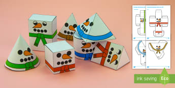 Formas de bonecos de neve 3D - natal, natais, celebraçao, festa, natividade, solsticio de inverno, inverno, pai natal, papai noel,