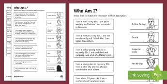 An Inspector Calls: Who Am I? Matching Cards - descriptions, SEN, AIC, simple, aid,