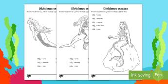 Hojas de colorear por divisiones exactas con una cifra - sirenas - dividir, división, repartir, cifras, divide, division, sharing, figures, digits, escrito, escrita,