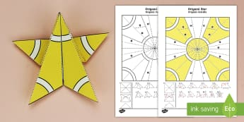 Simple Origami Christmas Star Paper Craft English/Spanish - 3D paper craft, paper craft, Christmas, Christmas tree, Christmas decoations, EAL, Spanish-translati