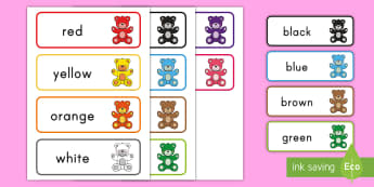 Color Bear Word Cards - colors, color word cards, color bear, color bear word cards, color words
