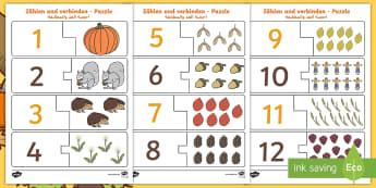 Deutsch Arabisches Zählen und Verbinden herbstliches Puzzle - Herbst, Jahreszeiten, Wetter, Flüchtlinge, Syrisch, Arabisch, Spiel,,German
