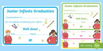 Junior Infants Graduation Certificate Certificate - Junior Infants, Graduation, certificate, End of Year, Award,Irish