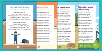 Big and Little Songs and Rhymes Resource Pack - Positional, Prepositions, Baby Room, Under 2, small, position, size, shape, compare, comparing, comp