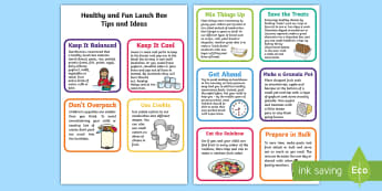 Healthy Lunch Box Tips and Ideas Flashcards - nutrition, parents, family, lunch, food, diet