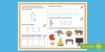 UAE EY 't' Sound Activity Mat - Letters and Sounds, grapheme, phoneme, satpin, letter formation, handwriting, EYFS, Development matt