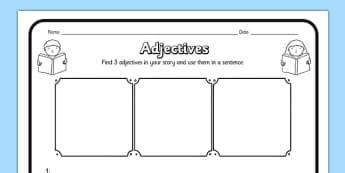 Adjectives Comprehension Worksheet / Activity Sheet - adjectives, comprehension
