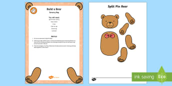 Build a Bear Sensory Bag - teddybear, teddy, sensory play, toys, fine motor