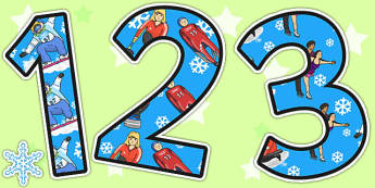 Winter Olympics Themed A4 Display Numbers - winter, olympics