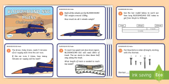 KS1 Bloodhound SSC Maths Challenge Cards - Bloodhound, SSC, supersonic, Maths, Challenge, Problem solving, problems
