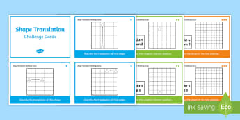 Shape Translation Differentiated Challenge Cards - translate, shape, movement, position and direction, year 4, y4,