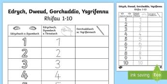 Taflen Weithgaredd Edrych, Trasio ac Ysgrifennu Ffurfio Rhifau 0-10 - adio, ffurfio, rhifedd, trasio, numeracy