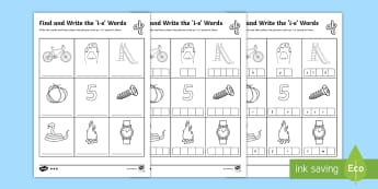 Find and Write the i_e Words DS Template - Phonics activity, phase 3, letters and sounds, igh sound, find the sound, sort the pictures, write t