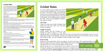 Cricket Rules Activity Sheet - worksheet, Batting, Fielding, Wicket, Striking, Oval, Game