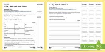 AQA Eng Lang P1 Q4 'Lullaby' Mini Exam Pack - AQA GCSE Specific Question Resources, structure, language, evaluation, Question 4, revision, Lullaby