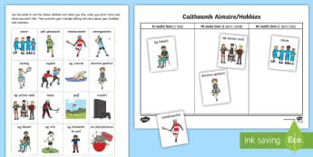 Seachtain na Gaeilge / Irish Language Week Hobbies Sorting Cards - ROI - Irish Language Week Gaeilge Resources - 1st-17th March, Seachtain na Gaeilge, caitheamh aimsir