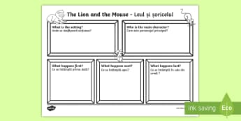 The Lion and the Mouse Story Review Writing Template English/Romanian - The Lion and the Mouse Story Review Writing Frame - story review, story, writing frame, writting, EA