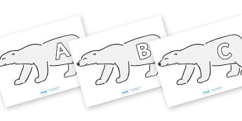 A-Z Alphabet on Polar Bears - A-Z, A4, display, Alphabet frieze, Display letters, Letter posters, A-Z letters, Alphabet flashcards