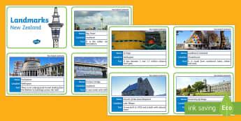 New Zealand Landmark Fact Cards - fact cards, landmarks, new zealand, aotearoa, my place, cities, places, monuments, New Zealand archi