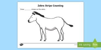 Zebra Stripes Counting and Colouring Sheet - safari, safari animals, on safari, safari colouring sheets, safari counting sheets, safari numeracy, counting