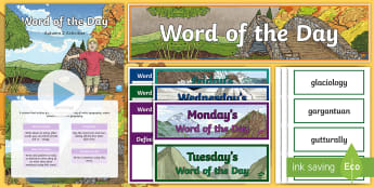 Year 5 Autumn 2 Word of the Day Display Pack - vocabulary, spelling, punctuation, grammar, writing.