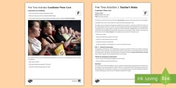 Free Time Activities 1 Foundation Tier Photo Card Activity Spanish - Spanish, Speaking, Practice, photo, card, activity, oral, foundation, tier, free, time, activities,