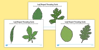 Leaf Shaped Threading Cards - leaf shape, threading cards, threading, cards