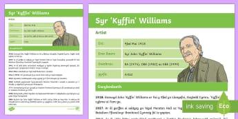 Ffeil Ffeithiau Kyffin Williams - Wynebau Enwog Cymru, Enwog, Wynebau Cymru, Hanes. Hedd Wyn, poet, bard, Rhyfel Byd Cyntaf, First Wor