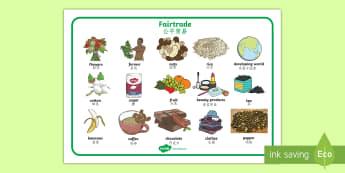 Fairtrade Word Mat English/Mandarin Chinese - Fairtrade Word Mat - fairtrade, word mar, keyword mat, key words, wordmat,EAL