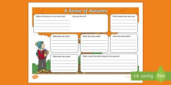 Fișe de activitate A Sense of Autumn Book Review Activity Sheet - A, Sense, of, Autumn, seasons, Aistear, school trip, forest, blackberries, worksheet, squirrels, lea