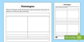 Homonyms Draw and Write Activity Sheet - Language, Vocabulary, Spelling, Word Study, English,Australia