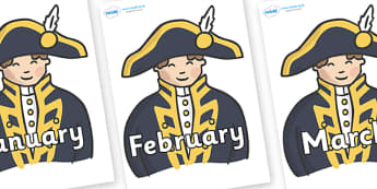 Months of the Year on Admirals - Months of the Year, Months poster, Months display, display, poster, frieze, Months, month, January, February, March, April, May, June, July, August, September