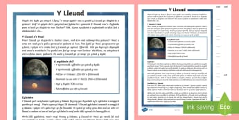 Blwyddyn 5 Y Lleuad Darllen a Deall Gwahaniaethol - Space resources - Welsh Medium Schools,Welsh