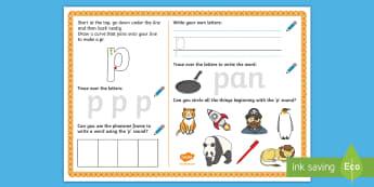 UAE EY 'p' Sound Activity Mat - Letters and Sounds, grapheme, phoneme, satpin, letter formation, handwriting, EYFS, Development matt