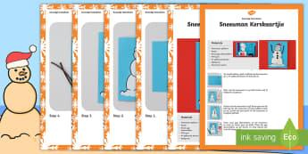 Sneeuman Kerskaartjie Kunsvlyt Instruksies  - Desember, fees, maak, kreatief, knip, plak