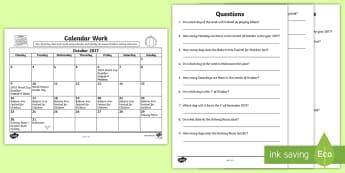 Problem Solving - Calendar Work October 2017 Activity Sheet - Ireland, Questions, Time, Months,Irish, Worksheet