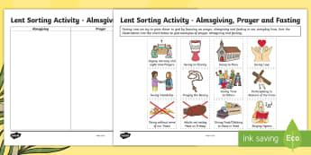 Lent Sorting Activity Sheet -  Lent, alms giving, fasting, praying, Scottish, easter, Christian celebrations, RE