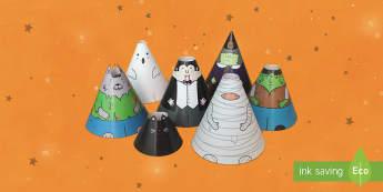 Halloween Cone Characters English/Romanian - Halloween Cone Characters - EAL, craft, cone, characters, colouring, EAL, Romanian