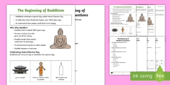 KS1 The Beginning of Buddhism Differentiated Reading Comprehension Activity - Buddhism, Buddha, teachings, celebration, Asala-Dharma Day