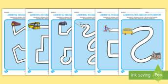 Controlul creionului pe tema mijloacelor de transport Fișe de activitate - motricitate fină, elemente grafice, controlul creionului, scriere, început de an școlar, transpor